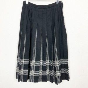 Pendleton Wool Pleated Midi Skirt in Black & White